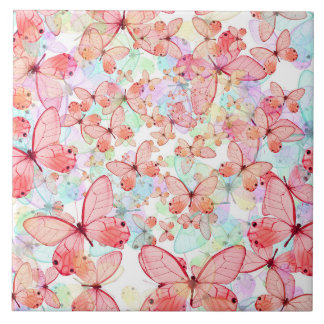 Butterflies Pastel Mauve Mint Green Aqua Cream Large Square Tile
