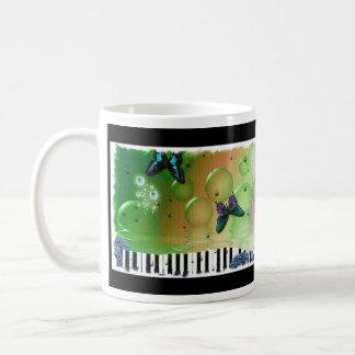 Butterflies Piano Keys Basic White Mug