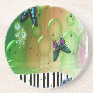 Butterflies Piano Keys Beverage Coasters