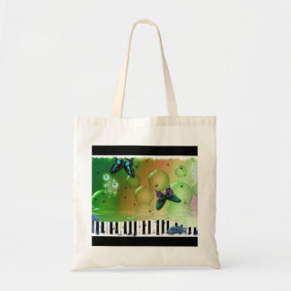 Butterflies Piano Keys Budget Tote Bag
