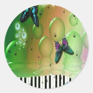 Butterflies Piano Keys Classic Round Sticker