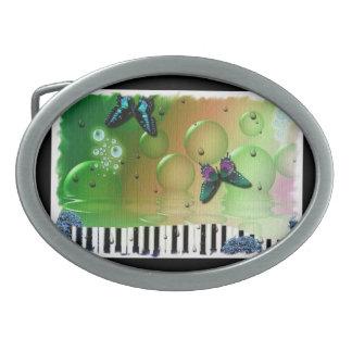 Butterflies Piano Keys Oval Belt Buckle