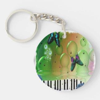 Butterflies Piano Keys Single-Sided Round Acrylic Key Ring