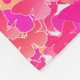 Butterflies, pink, fuchsia and coral fleece blanket
