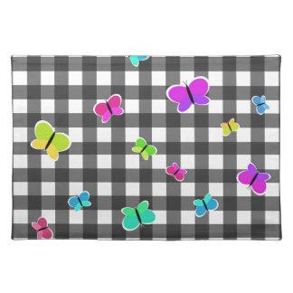 Butterflies plaid pattern placemat