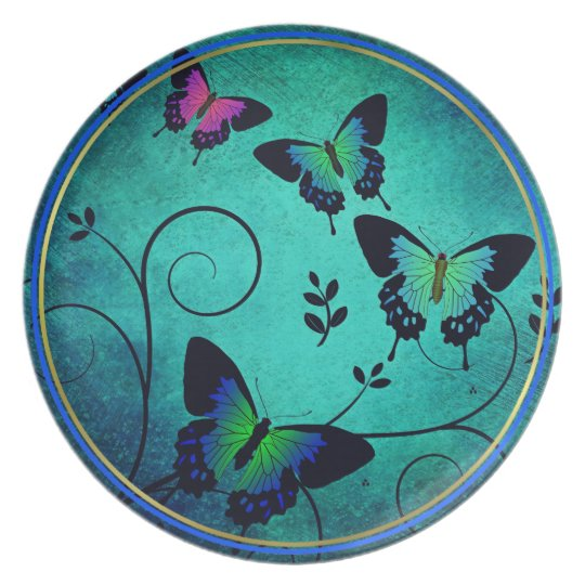 BUTTERFLIES´PLATE.  BLUE PLATE WITH BUTTERFLIES