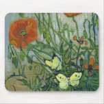 Butterflies & Poppies by Vincent van Gogh Mouse Pad