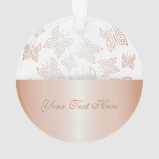 Butterflies Rose Gold Personalise Ornament