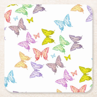 Butterflies Square Paper Coaster