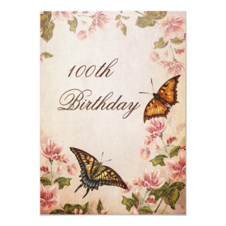 Butterflies & Vintage Almond Blossom 100th 13 Cm X 18 Cm Invitation Card