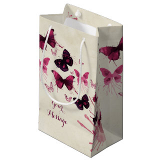 Butterflies Watercolor All Occasion Personalised Small Gift Bag