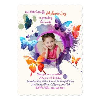 Butterflies Watercolor Photo Invitation