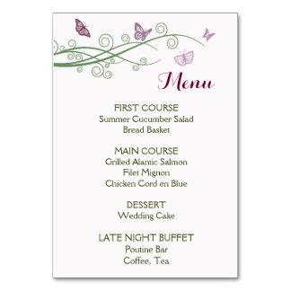 Butterflies Wedding Menu Card