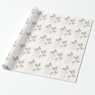 Butterflies white pink wedding names gift paper