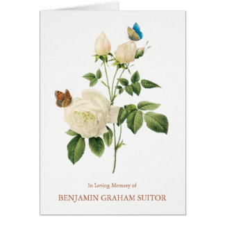 Butterflies & White Roses Funeral Thank You Card