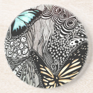 Butterflies with Black and White Design Coaster