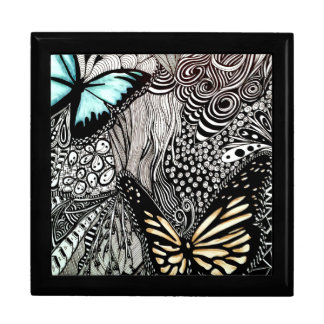 Butterflies with Black and White Design Large Square Gift Box