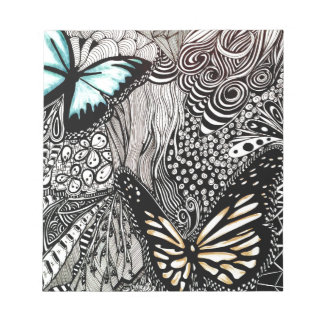 Butterflies with Black and White Design Notepad