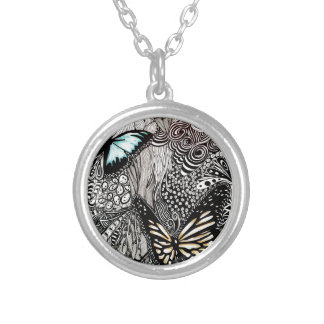 Butterflies with Black and White Design Silver Plated Necklace