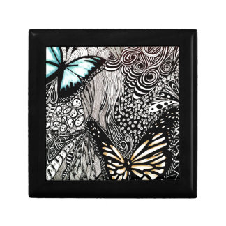 Butterflies with Black and White Design Small Square Gift Box