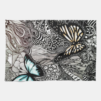 Butterflies with Black and White Design Tea Towel