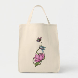 Butterflies with Flower Organic Grocery Tote Grocery Tote Bag