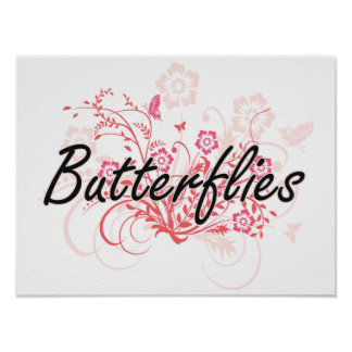 Butterflies with flowers background poster