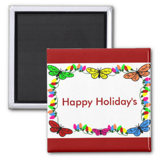 Butterflies with lights, Happy Holiday's magnet