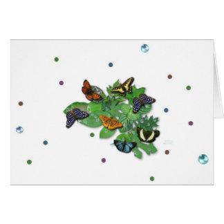 Butterflies with sheets, rain drop, beads card