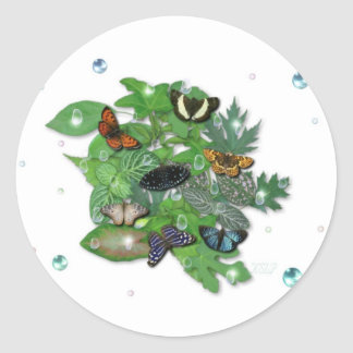 Butterflies with sheets, rain drop, beads round sticker