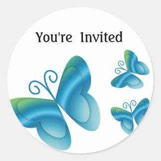 Butterflies You're Invited Envelope Seals Round Classic Round Sticker