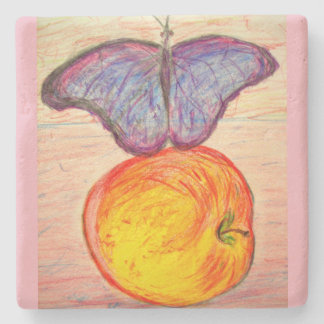 Butterfly and Apple Stone Coaster