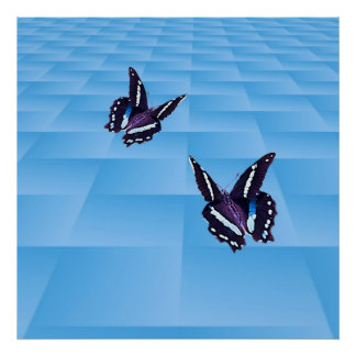 Butterfly and blue grid poster