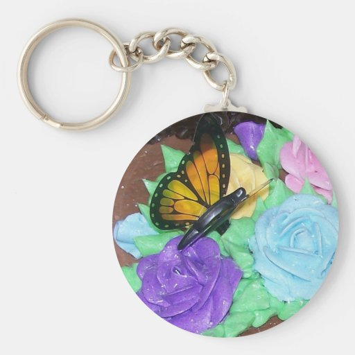 butterfly and buttercream roses key chain