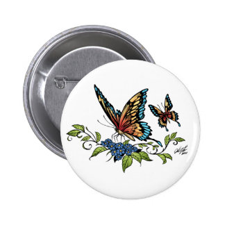 Butterfly and Butterflies full color by Al Rio 6 Cm Round Badge