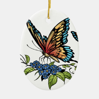 Butterfly and Butterflies full color by Al Rio Ceramic Oval Decoration