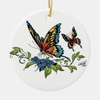 Butterfly and Butterflies full color by Al Rio Round Ceramic Decoration