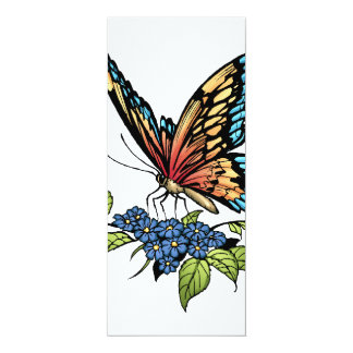 """Butterfly and Butterflies full color by Al Rio 4"""" X 9.25"""" Invitation Card"""