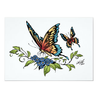 """Butterfly and Butterflies full color by Al Rio 5"""" X 7"""" Invitation Card"""
