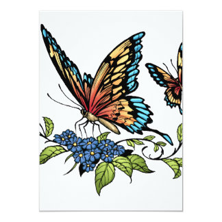Butterfly and Butterflies full color by Al Rio 5x7 Paper Invitation Card
