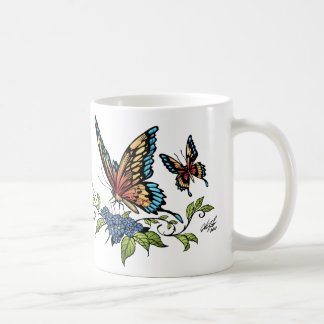 Butterfly and Butterflies full color by Al Rio Basic White Mug