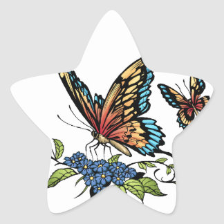 Butterfly and Butterflies full color by Al Rio Star Sticker