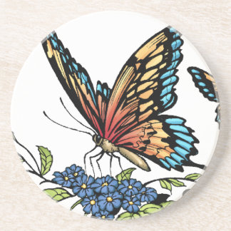 Butterfly and Butterflies full colour by Al Rio Drink Coasters
