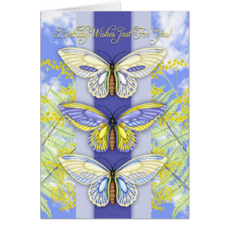 butterfly and flower birthday greeting card