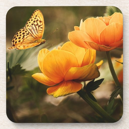 Butterfly and Flower Photo Cork Coaster Beverage Coasters