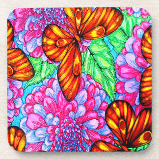 Butterfly and flowers coaster