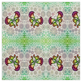 butterfly and flowers fabric