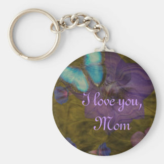 """Butterfly and Flowers """"I Love You, Mom"""" Keychain"""