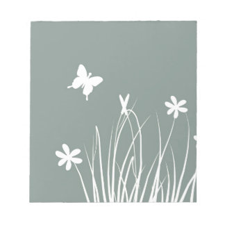 Butterfly and flowers meadow notepad