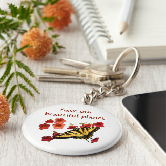 Butterfly and Flowers Save Our Planet Keychain
